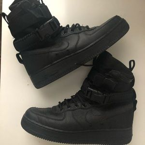 Nike SF Air Force 1 High Triple Sneakers.